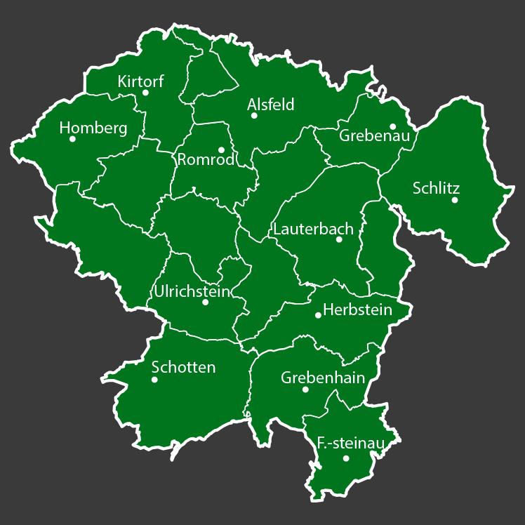 Übersichtskarte Vogelsbergkreis